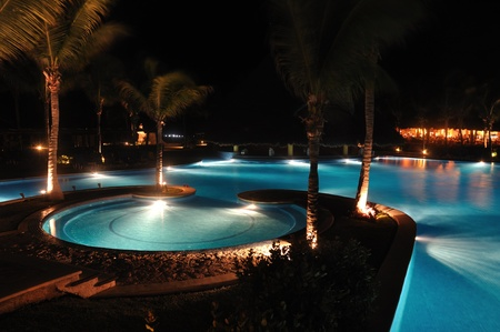 Tropical Resort Swimming Pool at Night with Palm Trees