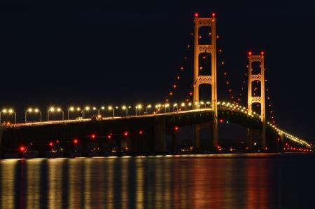 mackinac: Mackinac Bridge Lit at Night