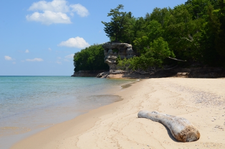 pictured: Chapel Rock and Beach at Pictured Rocks National Lakeshore in the Upper Peninsula of Michigan