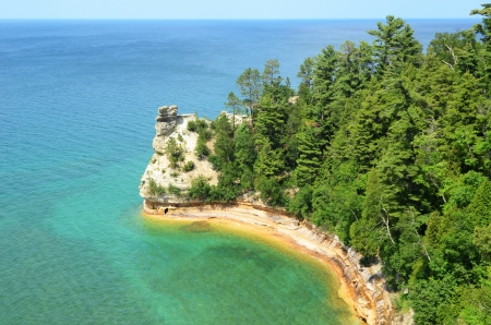pictured: Miners Castle at Pictured Rocks National Lakeshore in the Upper Peninsula of Michigan Stock Photo