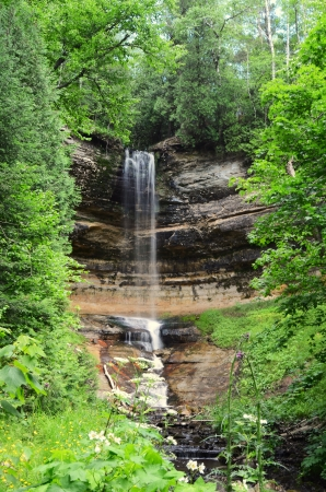 pictured: Munising Falls at Pictured Rocks National Lakeshore in the Upper Peninsula of Michigan Stock Photo