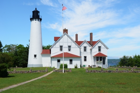 lake michigan lighthouse: Punto iroqueses Faro en la península superior de Michigan