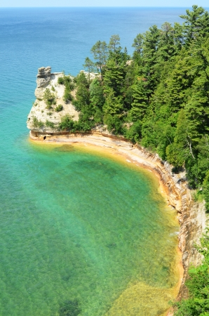 upper peninsula: Miners Castle at Pictured Rocks National Lakeshore in the Upper Peninsula of Michigan Stock Photo