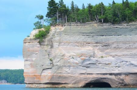 superior: Battleship Rock at Pictured Rocks National Lakeshore in the Upper Peninsula of Michigan