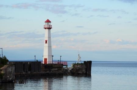 lake michigan lighthouse: Wawatam Faro en San Ignacio de Michigan en el lago Huron Foto de archivo