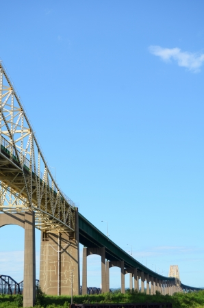 Sault Ste  Marie International Bridge Joining Michigan and Ontario Stock Photo - 14428551