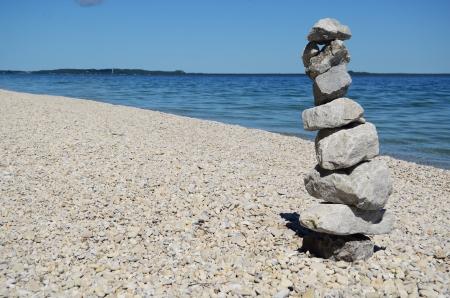 mackinac: Rock Cairn on Mackinac Island Michigan on a Summer Day