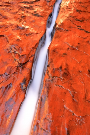 zion: Water Flowing through Crack in Zion National Park near the Subway Stock Photo