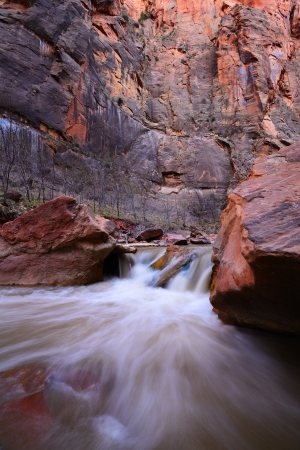 zion: Cascade on the Virgin River by Narrows Canyon in Zion National Park