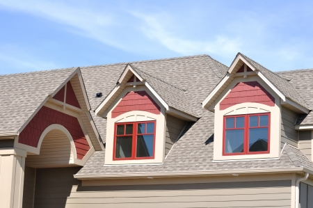 house gable: Gable Dormers and Roof of Residential House