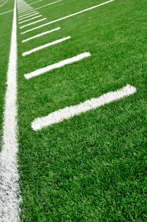 yardline: Sideline on a American Football Field with Hash Marks