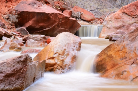 zion: Waterfalls on the Virgin River by Narrows Canyon in Zion National Park