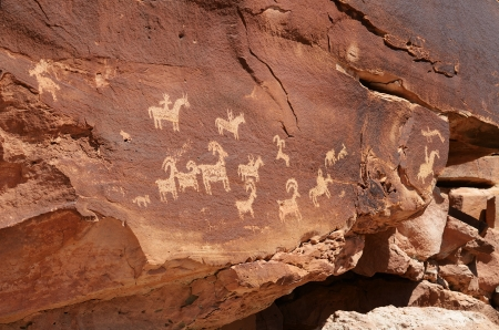tribal park: Indian Petroglyphs Near Wolfe Ranch in Arches National Park Stock Photo
