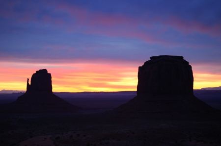 Beautiful Red East Mitten Butte Sunrise, Monument Valley  Navajo Permit on File
