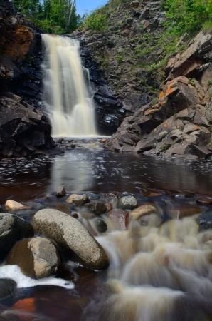 minnesota woods: Waterfall on the Fall River near Grand Marias, Minnesota Stock Photo