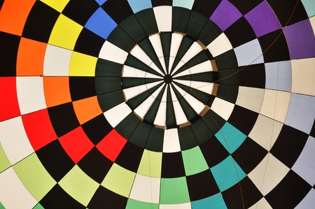 air balloon: Colorful Pattern Inside of a Hot Air Balloon Stock Photo