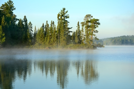 minnesota: Reflections of the Coniferous Forest on a Foggy Wilderness Lake Stock Photo
