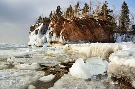 minnesota: The Icy Shoreline of Lake Superior in Tettegouche State Park, Minnesota