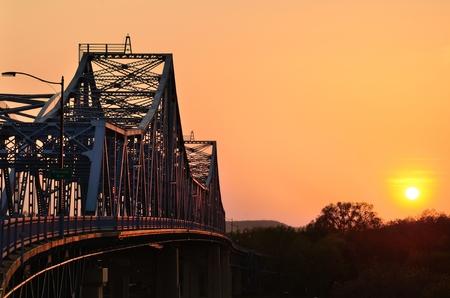 street lamp: Bridge at Sunset in La Crosse, Wisconsin