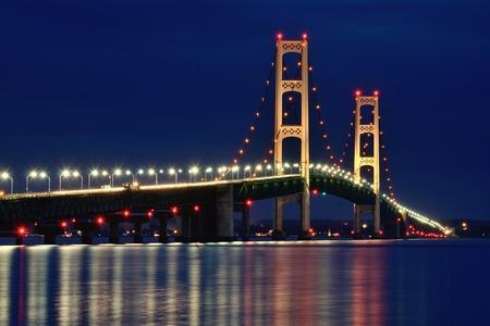 mackinac: Michigans Mackinac Bridge Lit at Night Stock Photo