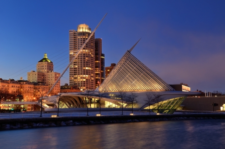 art museum: Milwaukee Art Museum and Downtown Skyline at Dusk Editorial