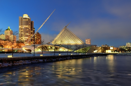 art museum: Milwaukee Art Museum and Downtown Skyline at Night Editorial