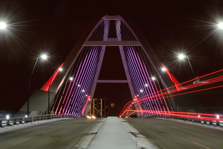 lowry: Lowry Avenue Bridge in Minneapolis, Minnesota at Night With Taillights