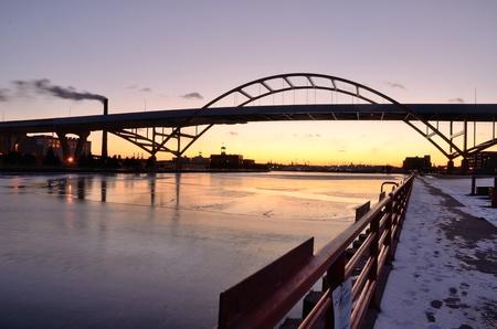 Milwaukee: Hoan Bridge in Milwaukee, Wisconsin After Sunset Stock Photo