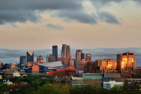 bank of america: MINNEAPOLIS, MN - APRIL 22 2016: Downtown Minneapolis Skyline with Minnesota Vikings US Bank Stadium and the University of Minnesota