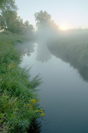 arden: Early Morning Fog Over Rice Creek, Arden Hills, Minnesota Stock Photo