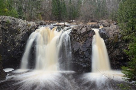 state park: Little Manitou Falls at Pattison State Park in Wisconsin Stock Photo