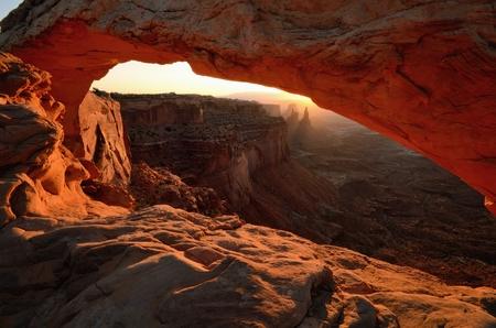 mesa: Mesa Arch Glowing in Canyonlands National Park at Sunrise
