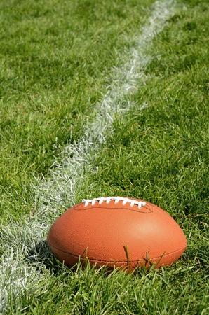 yardline: Football Near Yardline American Football on Natural Grass Turf