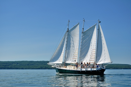 schooner: BAYFIELD, WI - July 7 2012: Schooner Sailboat Sailing on a Beautiful Summer Day Editorial