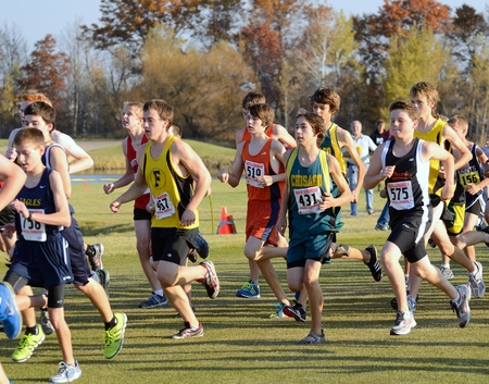 ST. FRANCIS, MN - OCTOBER 16 2012: Boys High School Cross Country Meet With Numerous Minnesota Teams Participating.