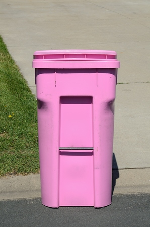 Pink Garbage Container on the Street