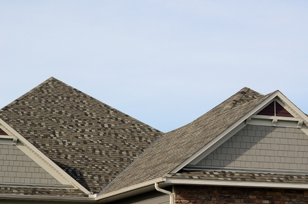 house gable: Asphalt Shingles on a Hip Roof with Gable Dormers on a Residential House