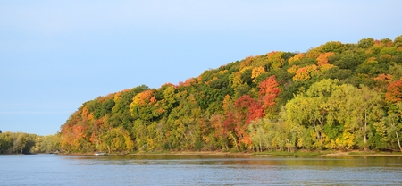 Panoramic View of Fall Colors Along the St. Croix River near Stillwater, Minnesota