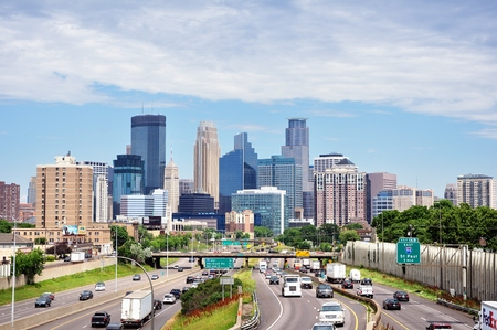 MINNEAPOLIS, MN, USA - JUNE 30 2016: Downtown Minneapolis Minnesota Skyline and Interstate Highway 35W