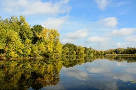 Autumn Colors Reflected on a Lake on a Calm Standard-Bild