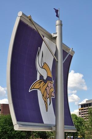 MINNEAPOLIS, MN, USA - JULY 15 2016:Minnesota Vikings Logo on Sail Near US Bank Stadium in Minneapolis Editorial
