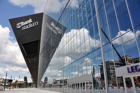 vikings: MINNEAPOLIS, MN, USA - JULY 15 2016: Minnesota Vikings US Bank Stadium in Minneapolis on a Sunny Day