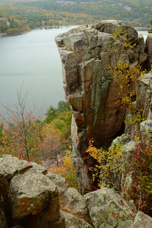 bluff: Granite Rock Formation at Devils Lake State Park near Baraboo, Wisconsin