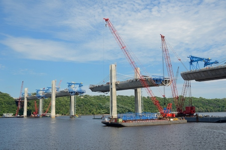 Oak Park Heights, MN, USA - AUGUST 4 2016: Construction of the St. Croix Crossing Extradosed Bridge Over the St. Croix River Connecting Wisconsin and Minnesota