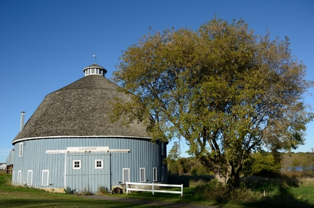 The Moody Blue Round Barn in Chisago Lake Township, Chisago County, Minnesota, United States