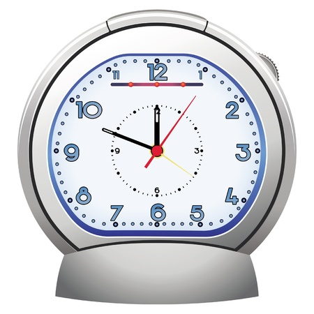 silver alarm clock illustratoin Stock Vector - 11273368