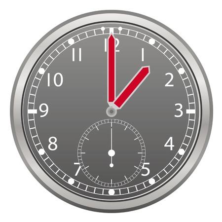 chrome man: grey clock with red arrow illustration Illustration