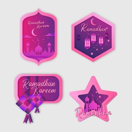 Gradient Ramadan Kareem Background Bundle Vector Иллюстрация