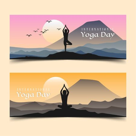 International yoga day silhouette with girl doing yoga Vectores