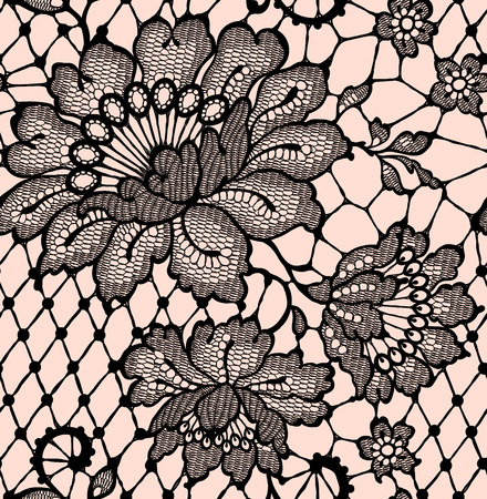 Lace seamless pattern Black lace